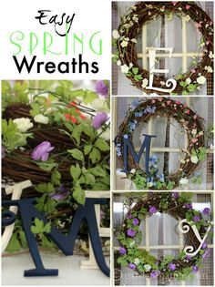 Easy spring wreath made of grapevine, wooden letters and artificial spring blooms. A little hot glue and imagination is all you need.