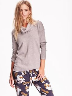 Cowl-Neck Tunic Sweater Product Image