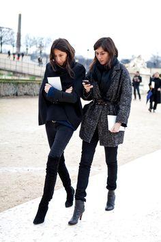 Parisian Chic: Géraldine Saglio and Emmanuelle Alt.  Skinnies & boots.