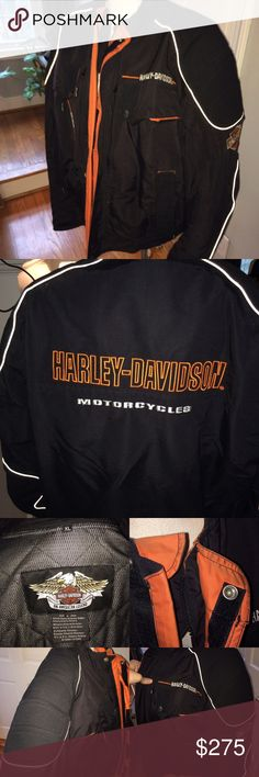 RARE Harley Davidson men's Heritage nylon jacket Harley Davidson men's Heritage nylon jacket.  Some wear pictured at the top of the zipper but otherwise excellent used condition. Removable armor/ protection pads. Removable zipper lining. No trades. Happy to answer any questions. Harley-Davidson Jackets & Coats