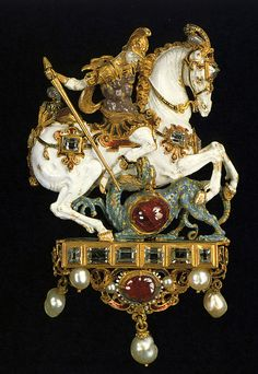 George Slaying the Dragon~ gold,enamel, pearls and gems~ Dresden, Germany, century. Renaissance Jewelry, Medieval Jewelry, Ancient Jewelry, Antique Jewelry, Vintage Jewelry, Viking Jewelry, Royal Jewelry, Jewelry Art, Fine Jewelry