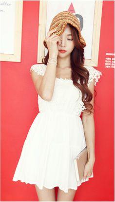 Lovely white dress  #dress #kooding #summer