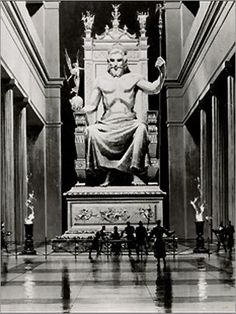 The Statue of Zeus at Olympia was made by the Greek sculptor Phidias, circa 432 BC on the site where it was erected in the Temple of Zeus, Olympia, Greece. It is one of the Seven Wonders of the Ancient World.