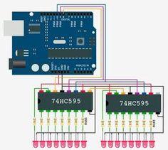 Utiliser le composant 8 Bit Shift Register avec un Arduino Use the 8 Bit Shift Register Component with an Arduino Led Cube Arduino, Arduino R3, Arduino Circuit, Electronic Circuit, Electronic Gifts, Electrical Engineering Books, Electrical Projects, Robotics Projects, Led Projects