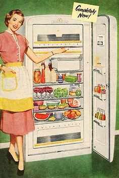 Completely New!  Detail from 1952 Coolerator refrigerator ad.