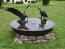 Eagle Sculpture: Eagles Fishing Birdbath Bowl - launched at the Architectural Digest Design Show, New York, USA