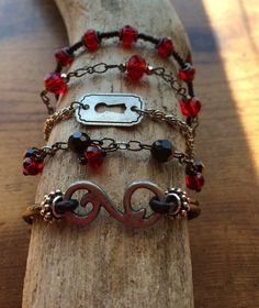 Red & Black Multi Strand Bracelet by RavensMoonDesigns on Etsy