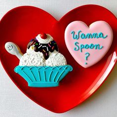 Wanna spoon?  Valentine's Day cookies. #cookiesbylindsay #cookies #sugarcookies #decoratedcookies #cookiedecorating #cookiesofinstagram #cookieart #royalicing #royalicingcookies #valentines #valentinesday #valentinescookies #wannaspoon #lol #icecream #icecreamcookie #icecreamsundae #sundae #customcookies ❤️Sundae cookie cutter bought from @howsweetisthat ❤️#brookiescookiesco