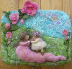 Needle felted sculptural wool painting waldorf first steps girl and mommy roses wm5