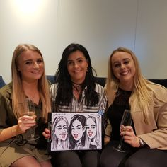 Wine tasting party caricatures