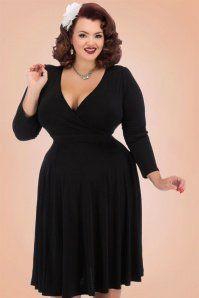 50s Lyra Long Sleeves Dress in Black