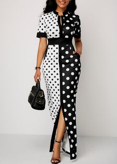 Front Slit Polka Dot Print High Waist Dress - Trend Way Dress African Fashion Dresses, African Dress, Fashion Outfits, Ankara Fashion, Fashion Wear, Dress Fashion, Girl Fashion, Womens Fashion, Maxi Dress With Sleeves