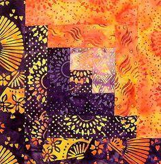 Anthology-Bali-Batik-12-Block-Log-Cabin-PRE-CUT-Quilt-Kit-29x39-Lava-Purple