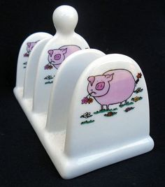 Toast Rack decorated with Pigs, kiln fired, ceramic Toast Rack Toast Rack, Toasters, Breakfast Set, Butter Dish, Ceramics, Dishes, Marmalade, Pigs, Honey