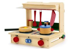 Folding Wooden Toy Kitchen in a Case