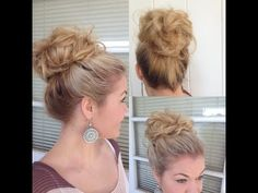 This is an altered version of the famous sock bun. Instead of the neatness and clean lines of your typical sock bun, this is a messy volumeized style that is absolutely adorable!