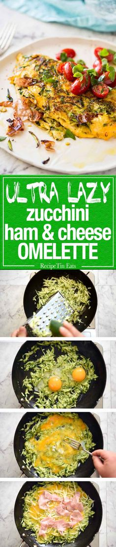 Ultra Lazy Zucchini Ham Cheese Omelette - deliciousness was never so easy. www.recipetineats.com