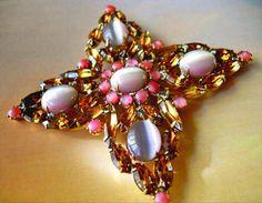 Czech Brooch Maltese Cross Pink Moonglow Amber by RenaissanceFair, $32.50