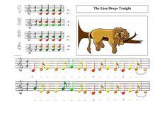 The Lion Sleeps Tonight - Orkest in de klas Preschool Music, Music Activities, Teaching Music, Music Lessons For Kids, Music For Kids, Piano Lessons, Music Maniac, The Lion Sleeps Tonight, Early Music