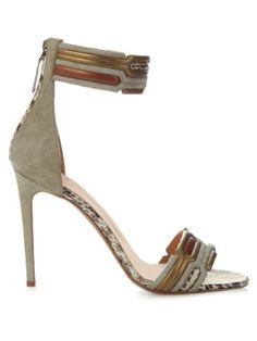 Geometric ankle-strap suede sandals | Peter Pilotto | MATCHESFASHION.COM