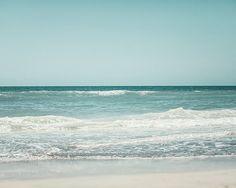 Beach Photography, Landscape Photograph, Soft Blue Beach Decor, Turquoise, Aqua, White, Teal, Seashore, Seascape, Nautical Decor, Ocean Art.