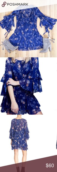 Free People Sunsetter Floral Print Minidress NWT Sheer floral print whimsical minidress that can also be worn as a tunic. Pretty and romantic. Brand new, never worn Free People Dresses Mini