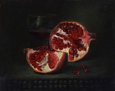 """The broken pomegranate"" by Alexei Antonov <br> ""The broken pomegranate"" by Alexei Antonov: Tastiest and most interesting fruit in the in this world. Been half drunk glass of cognac in the shadow. It is similar at the happy end of the working day Persephone Pomegranate, Still Life, Be Still, Pomegranate Art, Pomegranate Tattoo, Hades And Persephone, Vanitas, Greek Mythology, In This World"