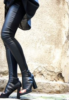 NEW Black Extra Long Leggings / Faux Leather Front B05139