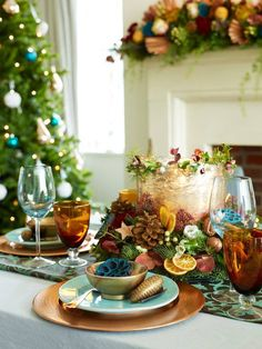 Close up of Christmas Supper table. Photo by Rachael Smith