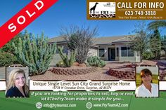 """SOLD! """"Unique Single Level Sun City Grand Surprise Home""""  *  If you are looking for properties to sell, buy or to rent, let """"The Fry Team"""" make it simple for you. CALL 623-748-3818 or visit www.FryTeamAZ.com for more info.  *  #SOLD #Residential #HomeForSale #CinnabarDrive #Surprise #AZ #RealEstate #TheFryTeam #HomeBuying #HomeSelling #WestUSARealty"""