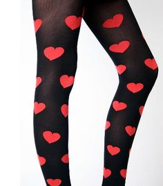 Designer Clothes, Shoes & Bags for Women Colored Tights, Opaque Tights, Heart Tights, Put On, Hosiery, Stockings, Valentines, Legs, Celebrities