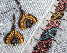Macrame peacock earrings, handcrafted earrings
