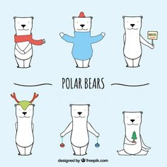 Sketchy niedźwiedzie polarne Darmowych Wektorów