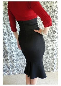 Marilyn Hour Glass High Waist WIGGLE SKIRT by MaisyBrownReproRetro