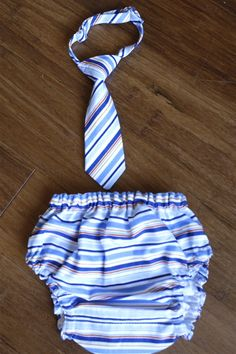Jason Stripe Baby Boy Diaper Cover and Tie Set - PERFECT FOR HIS 1 YEAR CAKE SMASH PHOTO SHOOT!!