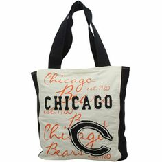 Chicago Bears Ladies Reverse Applique Tote - Natural/Navy Blue