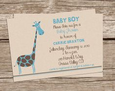 Giraffe Printable Baby Shower Invitation for Boy or girl - $14
