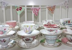 a wedding with vintage china - thrift stores and flea markets finds are going to be big