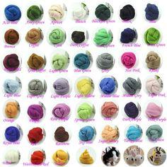 $9.93 Sale, 20 Colors Wool Corriedale Needle felting Top Roving Dyed Spinning Felting Fiber