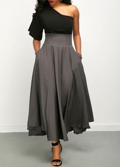 Women'S Black One Shoulder Skew Neck Elegant Dress Short Sleeve High Waisted Maxi Dress By Rosewe One Shoulder Top and Front Slit Belted Skirt Mode Outfits, Fashion Outfits, Fashion Clothes, Cute Dresses, Casual Dresses, Trendy Dresses, Maxi Dresses, Spring Dresses, Cheap Dresses