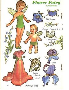 Flower fairy girls and boys with clothes paper dolls from jack and Jill mag.....nice