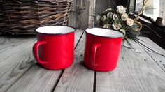 Red Enamel Cups - French Vintage Enameled Metal Mugs - Red Enamelware - Cottage Chic - Rustic Decor