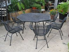 Russell Woodard Sculptura Patio Table and Chairs by openairmodern, $2800.00