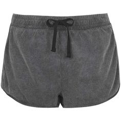 TOPSHOP Washed Side Step Runner Shorts ($18) ❤ liked on Polyvore featuring shorts, charcoal, topshop shorts, cotton shorts and topshop