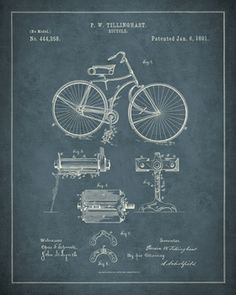 1891 Bicycle Patent Picture at Patent Art Photos