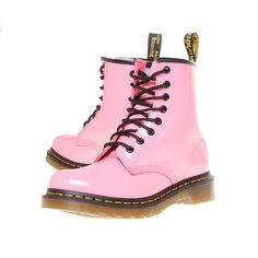 Dr Martens Classic 8 Pink ($68) ❤ liked on Polyvore featuring shoes, boots, ankle booties, pink, small heel boots, dr martens boots, lined boots, pink booties and summer booties