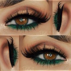 We this emerald, bronze eye look. Perfect for a fall evening.