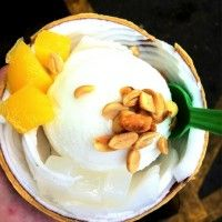 Coconut ice cream with mango toppings
