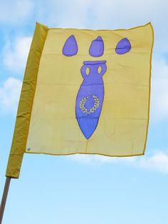 Banners for Shire of Bachas Woods. Hand painted silk banner for the SCA by Elizabet Hunter, Lochac.