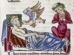 Bodleian Library, MS. Douce 167, Folio 1v The caladrius looks towards the sick man, which means he will recover, making the woman very happy.